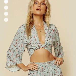 Blue Life Wrapped Top - Green Floral